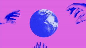 Collage NiIbelungen Motion Design Welt Erde Hände Diktatur Erklärfilm