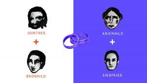 Collage NiIbelungen Motion Design Splitscreen Ölfarbe Ehe Heirat Ring Erklärfilm