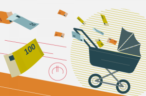 Illustration Swiss Life Kinderwagen Geld